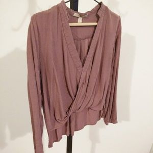 Forever21 Contemporary Surplice Long Sleeve Blouse